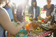 Smiling neighbors around potluck table in sunny park - HEROF28437