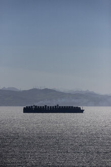 Spain, Andalusia, Tarifa, Strait of Gibraltar, Container ship - KBF00590