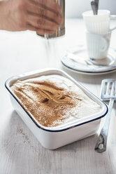 Tiramisu with coconut and cashew cream, cocoa shaker - IPF00508