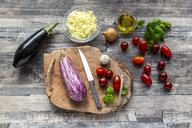 Various ingredients for aubergine-pizza, low carb - SARF04147