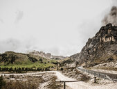 Landscape with mountain valley road and low cloud, Sankt Ulrich am Pillersee, Tyrol, Austria - CUF49791