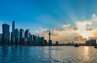 Pudong skyline and Huangpu river at sunset, Shanghai, China - CUF49818