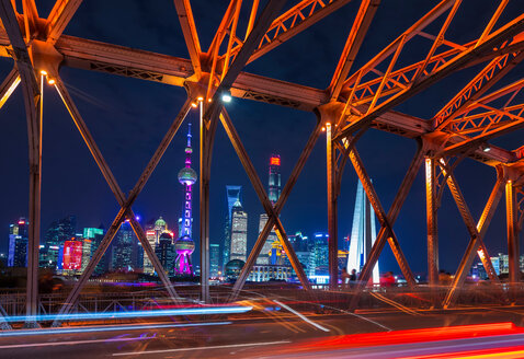 Waibaidu Bridge and Pudong skyline at night, Shanghai, China - CUF49821