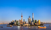 Pudong skyline and Huangpu river, Shanghai, China - CUF49824