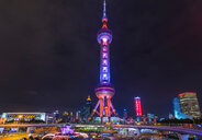 Oriental Pearl Tower at night, Shanghai, China - CUF49836