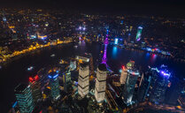 Cityscape with Pudong and Huangpu river at night, high angle view, Shanghai, China - CUF49845