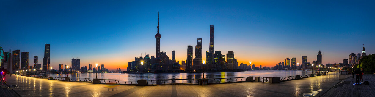 Bund and Pudong skyline at dawn, panoramic view,  Shanghai, China - CUF49860