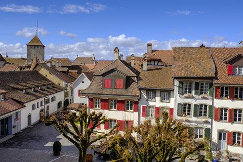 Ausblick auf Dächer der historischen Altstadt, Murten, Kanton Freiburg, Schweiz, - LBF02426