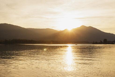 Austria, Alps, Salzburg, Salzkammergut, Salzburger Land, sunset at Wolfgangsee - GWF06001
