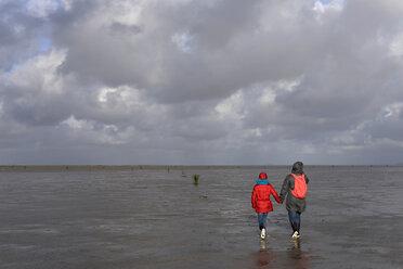 Germany, Lower Saxony, North Sea,     Hamburg Wadden Sea National Park, Neuwerk, low tide, mother and daughter walking in mudflat - BFRF01984