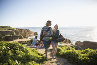 Young couple walking arm in arm with guitar on sunny beach - HEROF29098