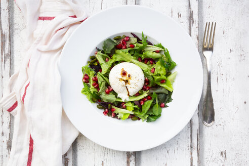 Oriental salad with mint, pistachios, pomegranate seeds and burrata - LVF07879
