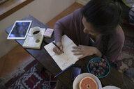 Woman sketching in journal in living room - HEROF29891