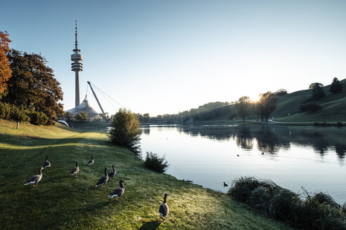 Germany, Munich, Olympic Park and Olympic Lake against morning sun - WFF00046
