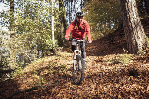 Man riding mountainbike on forest track - SEBF00065
