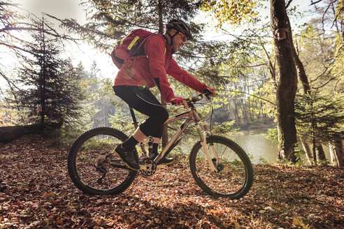 Man riding mountainbike on forest track - SEBF00068