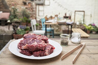 Barbecue in a backyard, steaks on a plate - PDF01796