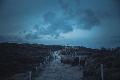 Germany, Sylt, Schleswig Holstein Wadden Sea National Park, Morsum Kliff, dune landscape, blue hour - ANHF00089