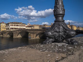 Italy, Tuscany, Florence, Arno river, Ponte alla Carraia, lamp pole - LAF02257