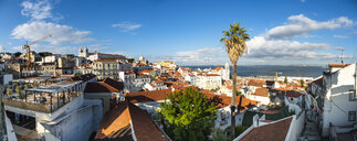 Portugal, Lisbon, Alfama, View from Miradouro de Santa Luzia over district with Sao Vicente de Fora Monastery, River Tagus, panoramic view - AMF06836