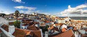 Portugal, Lisbon, Alfama, View from Miradouro de Santa Luzia over district with Sao Vicente de Fora Monastery, River Tagus, panoramic view - AMF06839