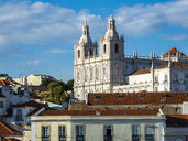 Portugal, Lisbon, Alfama, View from Miradouro de Santa Luzia over district with Sao Vicente de Fora Monastery - AMF06842