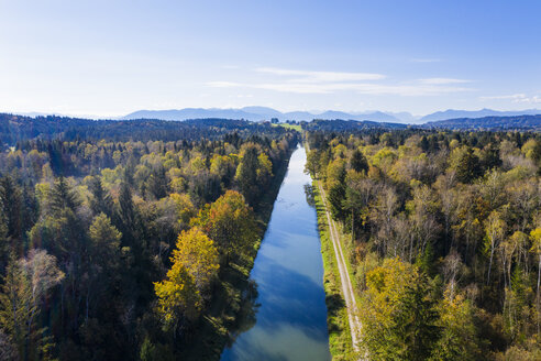 Germany, Bavaria, Upper Bavaria, Alpine foothills, Aerial view of Loisach Isar Canal - SIEF08435