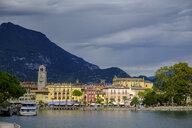 Italy, Trentino, Lake Garda, Riva del Garda, harbour with clock tower Torre Apponale - LBF02446