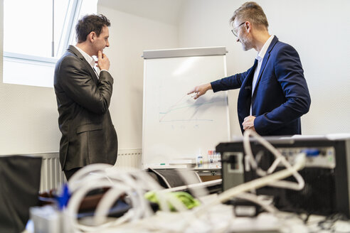 Two businessmen in office discussing at flip chart - DIGF06320