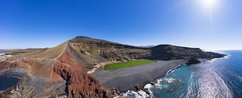 Spain, Canary Islands, Lanzarote, Aerial view of El Golfo, Charco de los Clicos, Montana del Golfo, Lago Verde - SIEF08457