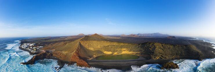 Spain, Canary Islands, Lanzarote, Aerial view of El Golfo, Charco de los Clicos, Montana del Golfo, Lago Verde - SIEF08460