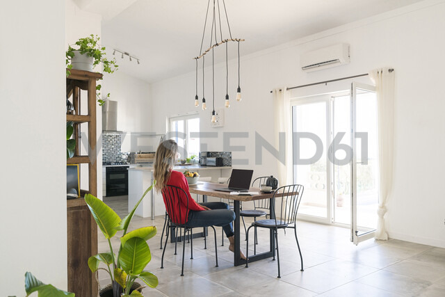 Woman using laptop on dining table in modern home - SBOF01956 - Steve Brookland/Westend61