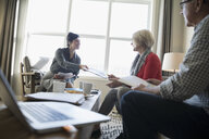 Financial advisor showing paperwork to senior couple meeting in living room - HEROF30603