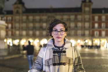 Spain, Madrid, portrait of young woman on Plaza Mayor - WPEF01381