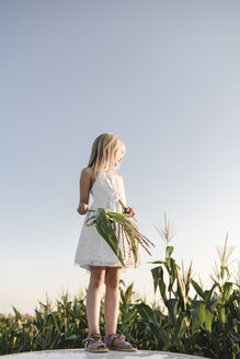 Blond girl standing at a cornfield - EYAF00052