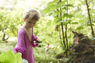 Little girl wearing pink tunic in nature - AMEF00042