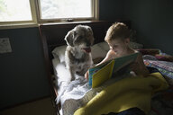 Boy reading book in bed with dog - HEROF31082