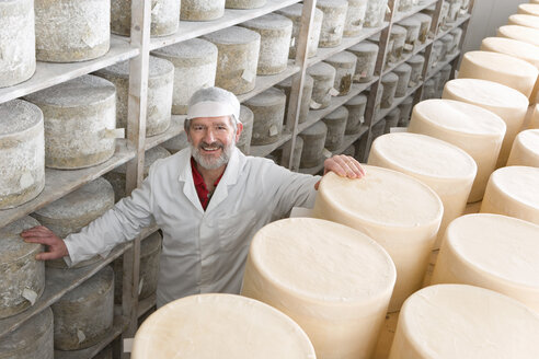 Portrait of smiling cheese maker in cellar with aged and young farmhouse cheddar cheese wheels - JUIF00519
