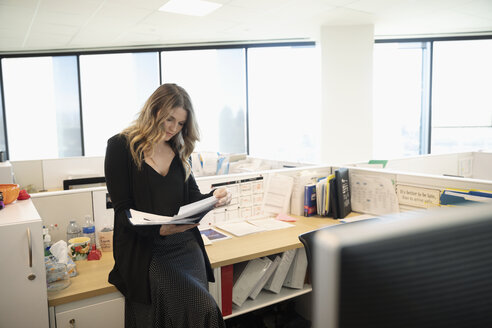 Businesswoman reviewing paperwork in office cubicle - HEROF31869
