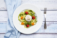 Zucchini noodles with baked tomatoes, burrata cheese, pepper and olive oil - LVF07925