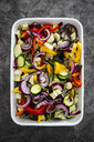 Mix of raw vegetables in casserole - GIOF05871
