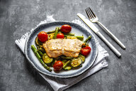 Coalfish fillet on zucchini, green asparagus and tomato, low carb - SARF04199