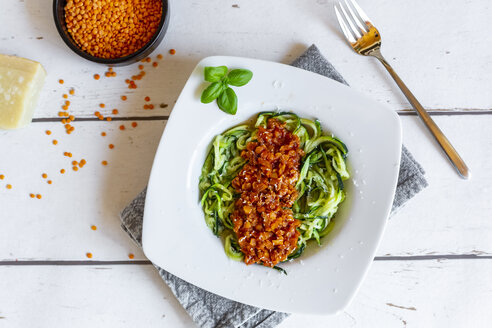 Zoodles with vegetarian bolognese sauce, parmesan and basil - SARF04208
