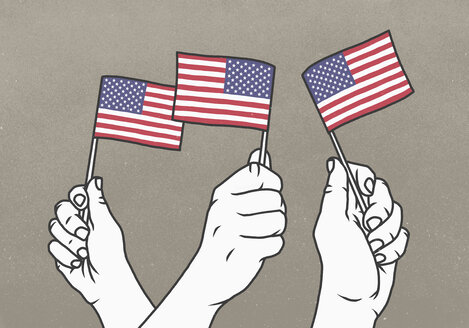 Hands waving small American flags - FSIF03777