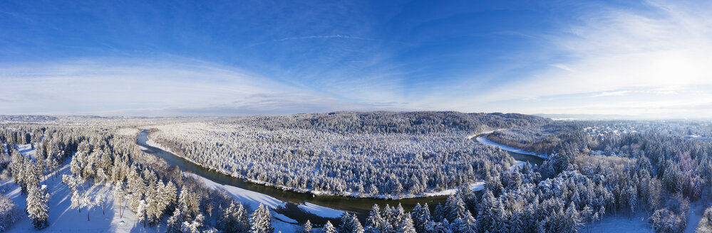 Germany, Bavaria, aerial view over Isar river and Isar floodplains in winter - SIEF08470