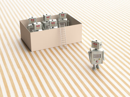 3D rendering, Toy robots escaping from a box - UWF01504