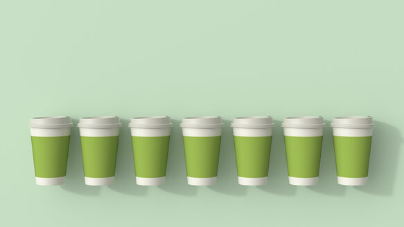 3D rendering, Row of green disposable coffee cups - UWF01540