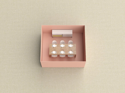 3D rendering, Miniature dining room in a box - UWF01552