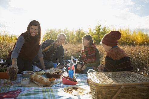 Family enjoying picnic in sunny autumn field - HEROF33243
