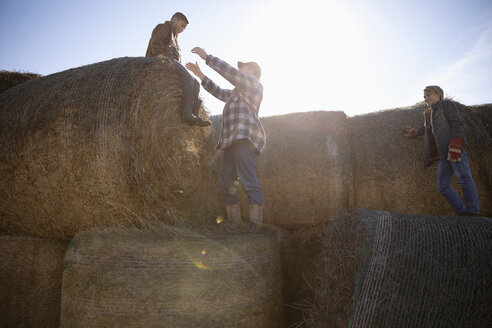 Farmer and sons playing on hay bales on sunny farm - HEROF33687